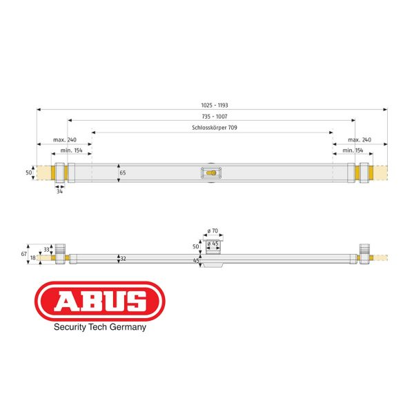 """Barre de sécurité PR2600 """"ABUS"""""""